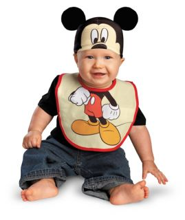 Infant Mickey Mouse Bib and Hat Halloween Costume 0 6 Months