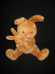 Russ Berrie Plush Brown Mommy Bunny Rabbit w Baby