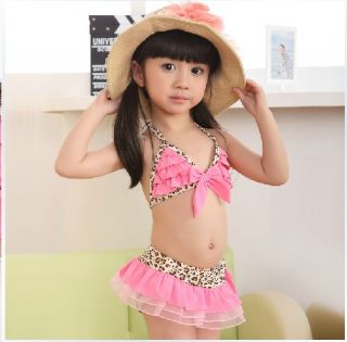 3pcs Baby Girl Kids Toddler Swimsuit Bikini Swimwear Pink Leopard Tutu Clothes