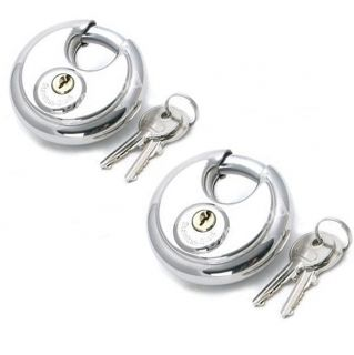 2 Pack 70mm Discus Padlock Disc Round Shackle Locks Heavy Duty High Security