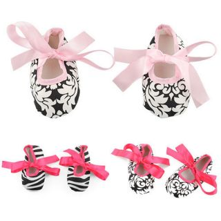 Infant Baby Toddler Girl Dot Damask Zebra Stripe Print Silk Ribbon Shoes 0 18M