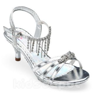 Girls Fancy Rhinestone Kids Dress Shoes Pageant Flower Formal Wedding Silver