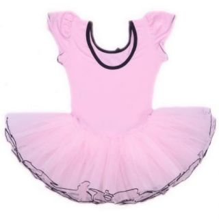 Girls Party Sleeve Leotard Pink Ballet Tutu 3 8Y Kids Costume Fairy Dance Dress