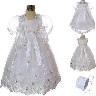 New Baby Infant Girl Toddler Christening Baptism Bonnet Formal Dress White 0 30M