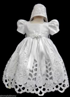 Baby Infant Toddler Girl Christening Gown Baptism White Dress Size 0 4 0 30M