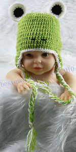 Newborn Baby Boy Girl Green Frog Crochet Knit Hat Cap Photography Photo Prop K36