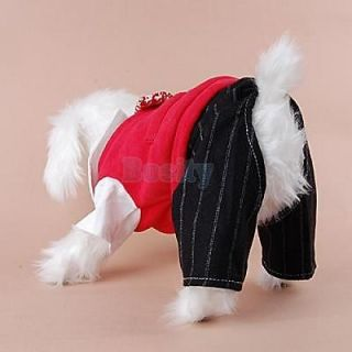 Student Style Pet Dog Shirt Vest Coat Tie Striped Pant Formal Costume Clothes M