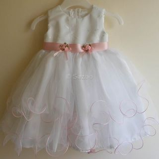 Baby Girls White Pink Christening Dress Outfit Headband 0 6 6 12 12 18M M38C