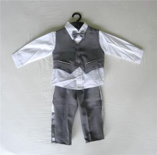 Baby Boy Outfit Dark Grey Special Occasion Suit Wedding Christening Age 0 3
