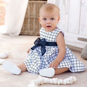 1pc Toddler Kid Child Baby Girls Cotton Plaid Dress Clothes Skirt Bow Blue White