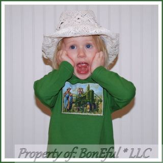 BonEful RTS Boutique 18 24 Baby Boy John Deere Farm Tractor Fabric New Shirt Top