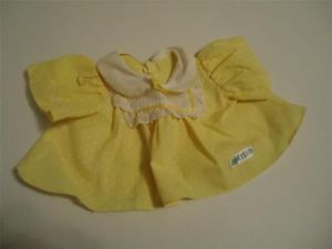 Vintage Cabbage Patch Kids CPK Baby Girl Doll Yellow Dress Top Clothes C6