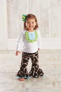 Mud Pie Wild Child Girls Giraffe Disco Set Top Flared Pants 0M 12M 18M 2T 3T