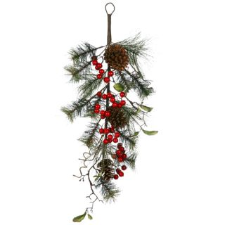Lot 2 Red Berry Pine Cone Christmas Teardrop Swags 28""