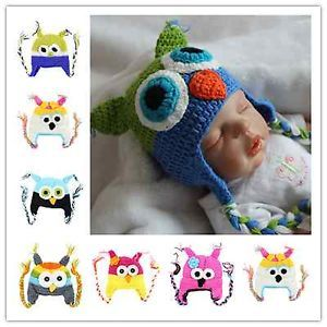 Handmade Cute Baby Boy Girl Toddler Owls Knit Crochet Hat Beanie Cap Gift