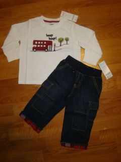 Gymboree Baby Boy 18 24 Months London Lad Outfit Lot Long Sleeve Shirt Jeans