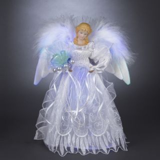 "12"" LED Lighted Silver White Fiber Optic Victorian Angel Christmas Tree Topper"