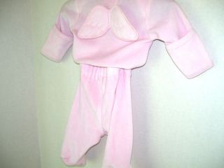 Baby Girls Mud Pie 2 PC Pink Velour Top w Angel Wings Footed Pants New 0 6 Month