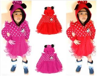 Baby Girl's Minnie Mouse Veil Dress Hoody Coat Jumper Costume Outwear Clothes