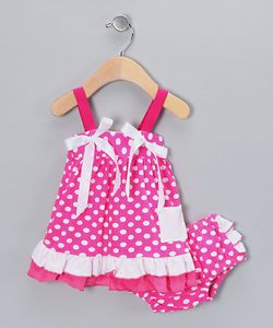 2pcs Baby Girl Infant Polka Dot Top Dress Shorts Bloomers Pants Outfit Clothes