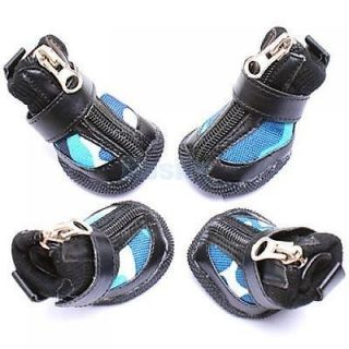 Black Genuine Leather Blue Camouflage Pet Dog Booties Boots Shoes Rubber Sole 4