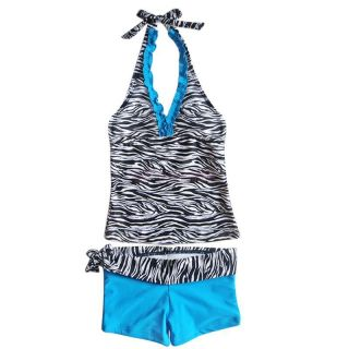 2pcs Girls Zebra Blue Tankini Swimsuit Halter Swimwear Summer Beachwear Sz 8 14