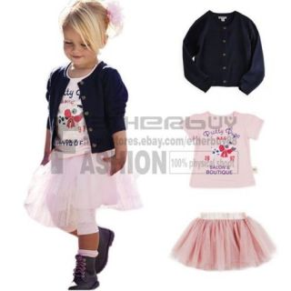 3pcs Baby Girl Top Coat T Shi RT Skirt Tutu Dress Outfit Costume Clothes 6 12M