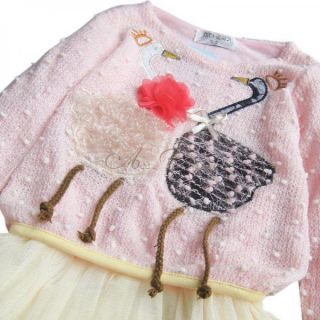 Girls Baby Toddlers Kids Knit Swan Party Dress Tulle Skirt Costume Cute Sz 2 3 4