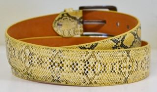 New Mens Designer FX Snake Skin Gold Yellow Python Leather Casual Dress Belt L