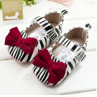 New Infant Toddler Baby Girl Princess White Zebra Red Bow Shoes Size US 2 X84Z6S