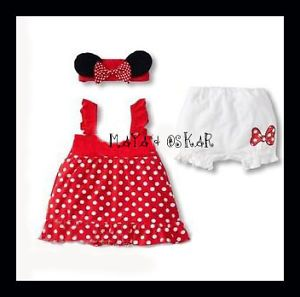 Baby Girl 3pc Minnie Mickey Mouse Outfit Polka Dress Pants Headband Summer Set