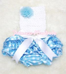 Newborn Baby Blue White Dots Bloomer with White Rose Crochet Tube Top 2piece Set