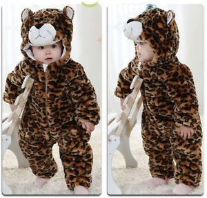 "Baby Boys Girls Winter Snowsuit Fleece Hoodie Jumpsuit Outwear ""Cozy Leopard"""