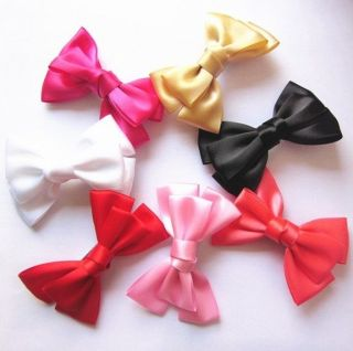 2 Pcs New Handmade 3 5'' Satin Hair Bow Baby Girls Hair Clips Hairpins