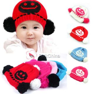 Fashion Baby Girls Boys Cute Knit Crochet Dual Ball Winter Warmer Beanie Cap Hat