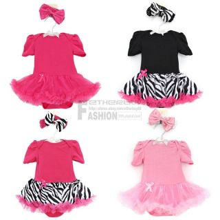 New 2pcs Headband Romper Sets Infant Baby Girl Jumpsuit Top Tutu Dress Outfit
