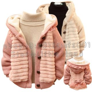Kids Baby Bow Knot Girls Toddler Winter Floral Hoodies Coats Jackets Size 6M 3Y