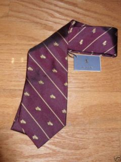 Polo Ralph Lauren Hand Made in Italy 100 Silk Red Horse Neck Tie $115