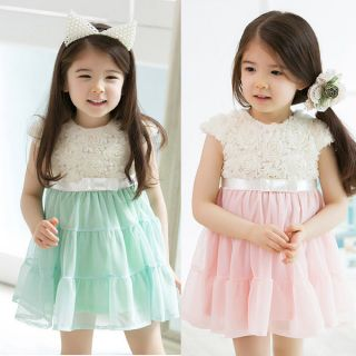 Baby Girls Kids Rose Lace Chiffon Fancy Princess Party Tutu Dress Skirts 0 5T