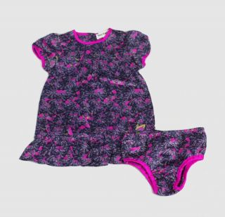 Juicy Couture Infant Baby Girls Satin Dress Bloomers Outfit Set Purple
