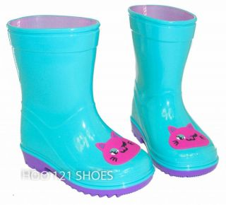 Girls Kids Kitty Cat Flat Galoshes Wellies Rubber Rain Boot Green Pink Toddler 8