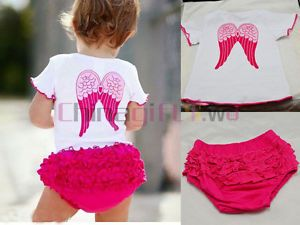 2pcs Kids Baby Girl Toddler Angel Top Ruffle Pants Shorts Clothes Sets Outfit