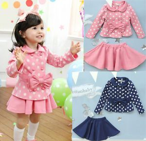 Girls Toddler Dress Dot Coat Top Skirt 2 7Y 2pcs Kids Clothes Set Outfit