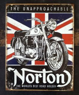 Norton Motorcycles Tin Metal Man Cave Sign Triumph Harley BSA Rat Rod