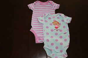 Baby Girls Polka Dot Monkey Bodysuit Shirt One Pieces Outfit 2 PC Set Clothes 3M