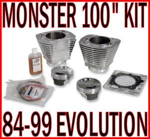 "100"" Monster Engine Big Bore Kit Harley Evolution EVO Natural Jugs Pistons"