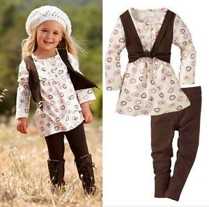 Baby Toddler Girls Kids Clothes 2 Piece Set Dress Top Leggings 0 6Y Outfit