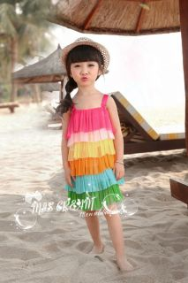 Red Baby Girls Cute Clothes Beach Vest Rainbow Tutu Summer Dresses Age 2 7 XY11