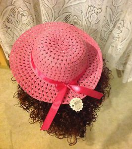 "New ""Bright Pink"" Dress Up Party Girls Easter Straw Hat Clothes Toddler Kids Tea"
