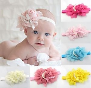 "Cute Baby Girl Chiffon 5 5"" Flower Christmas Pearl Headband Hair Bow Headdress"